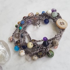 5 Strand Mixed Gemstones Crochet Bracelet