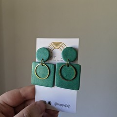 Large Emerald Green Polymer Clay Square Dangle with Gold Ring detail