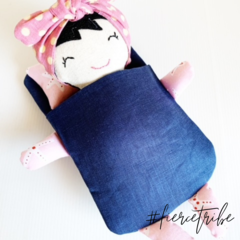 Little Doll Bed Set, Sleeping Bag and Pillow for little doll or animal softie