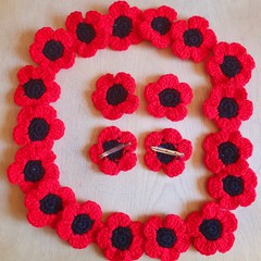 Crochet ANZAC Poppy Brooches