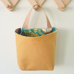 Storage solution, hanging fabric basket, mustard linen, mothers day gift