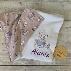 Personalised baby blanket, bunny rug, pram blanket, embroidered bunny