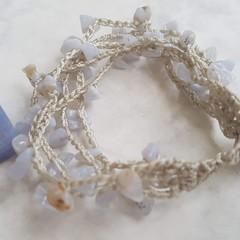 Blue Lace Agate Crochet Bracelet