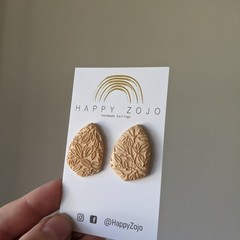 Champagne Coloured Polymer Clay Stud with Leaf Detailing