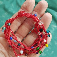5 Strand Glass Bead Crochet Bracelet