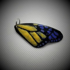 Butterfly Wing  Pendant Blue and Yellow