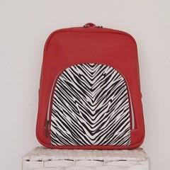 Kalani Backpack - Red with Zebra Print