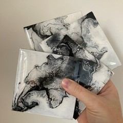 Handmade resin coasters - black and white