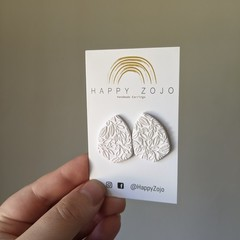 White Coloured Polymer Clay Stud with Leaf Detailing