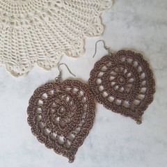 Large Crochet Leaf Earrings