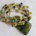 5 Strand Crochet Bracelet with Chrysoprase Gemstones