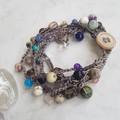 5 Strand Mixed Gemstones Crochet Bracelet