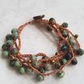 Bohemian Crochet Bracelet with African Turquoise Jasper Gemstones.