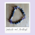 Amethyst and Larkivite Tree of Life Beaded Gemstone Stretch Bracelet