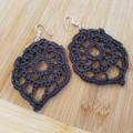 Charcoal Crochet Earrings