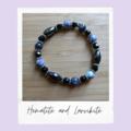 Hematite and Larkivite Beaded Gemstone Stretch Bracelet