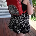 Kalani Backpack - Red with Zebra Print