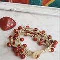 5 Strand Red Jasper Crochet Bracelet