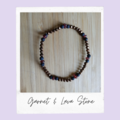 Garnet & Lavastone Beaded Gemstone Stretch Bracelet