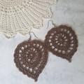 Large Crochet Leaf Earrings