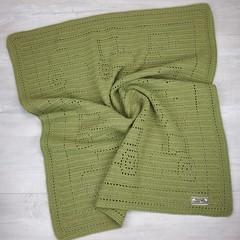 Baby Blanket Pure Australian Luxury Wool - Handmade Crochet - Tractor Pattern