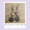 Rose Quartz & Pink Catseye Gemstone Flower Dangle Earrings