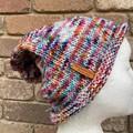 Hand knitted slouch beanie merino rainbow unisex purple ladies or men's beanie