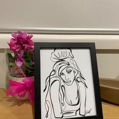 Amy Winehouse Line Drawing Framed Artwork
