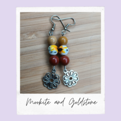 Mookaite and Goldstone Gemstone Flower Dangle Earrings