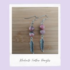 Rhodonite Feather Gemstone Dangle  Earrings
