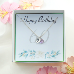 Personalized 60th Birthday Necklace gift,Birthstone Necklace