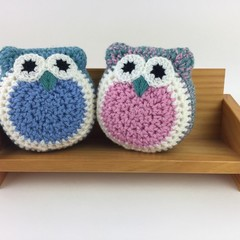 Pair Crochet Owl Softies | Soft Toys | Hand Crocheted | Wool | Blue Jade Pink