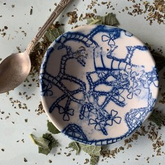 Textured Blue Flowers and Stems Porcelain Bowl