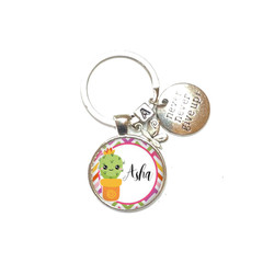 Cactus personalised keyring, add your charms