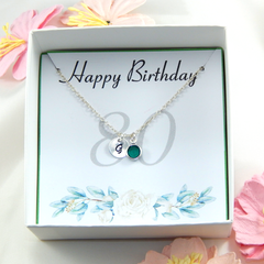 Personalized 80th Birthday Necklace gift,Birthstone Necklace