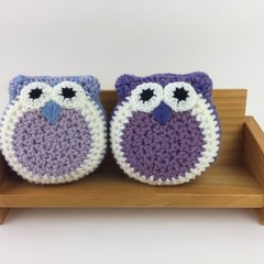 Pair Crochet Owl Softies | Soft Toys | Hand Crocheted | Wool | Lilac Blue Violet