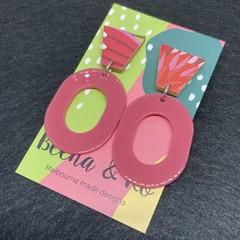 Pink oval earrings