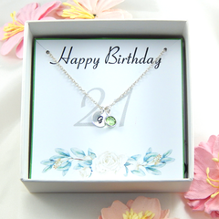 Personalized 21st Birthday Necklace gift,Birthstone Necklace