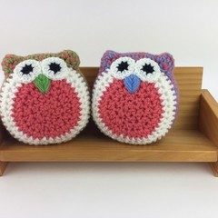 Pair Crochet Owl Softies | Soft Toys | Hand Crocheted | Wool | Green Coral Blue
