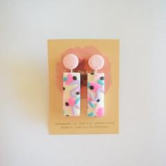 Confetti design polymer clay earrings