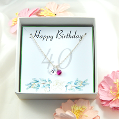 Personalized 40th Birthday Necklace gift,Birthstone Necklace