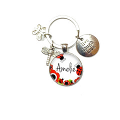 Ladybird personalised keyring, add your charms