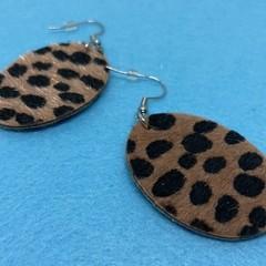 Leopard print hook earrings