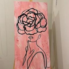 Fairy Floss Flowered Face Acrylic Painted Canvas