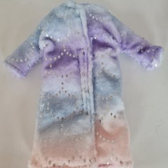 Barbie doll clothes - rainbow coat with silver fish scale print