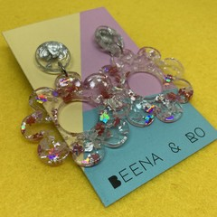 Sparkly pink/silver flower earrings