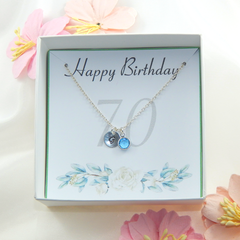 Personalized 70th Birthday Necklace gift,Birthstone Necklace