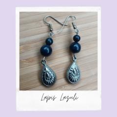 Lapis Lazuli Teardrop Gemstone Dangle Earrings