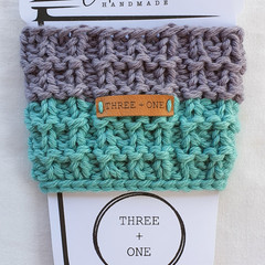 100% COTTON CUP SLEEVE - Grey Wisp/Light Teal