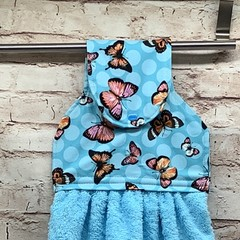 Blue Butterflies Hanging Hand Towel